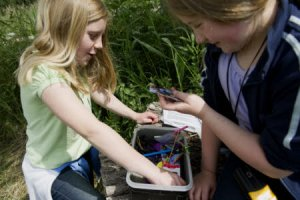 "Children finding a geocache box of ""treasure"" at Wicken Fen National Nature Reserve, Cambridgeshire."
