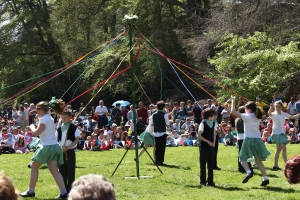 Styal Primary School performed a traditional May Pole dance