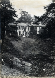 The view to Quarry Bank House from the Lower garden in the 19th century