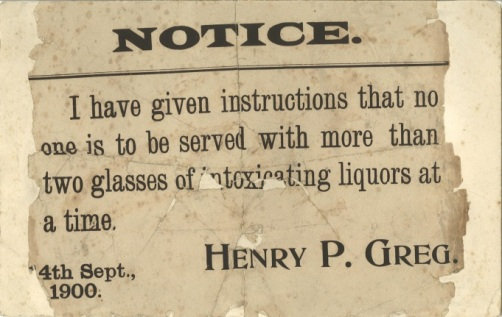 A notice detailing alcohol consumption, issued by Henry P Greg